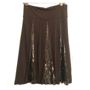 DKNY NWT Black Sequin A-line Skirt